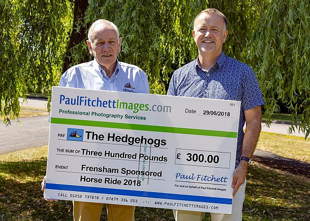 Paul Fitchett Images Donating £300 to The Hedgehogs, Farnham, Surrey.